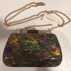 Francesca's Multicolor marbleized hard clutch NWT